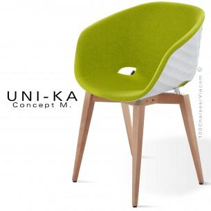 Fauteuil UNI-KA coque blanche, piétement hêtre naturel, assise garnie, habillage tissu couleur pistache