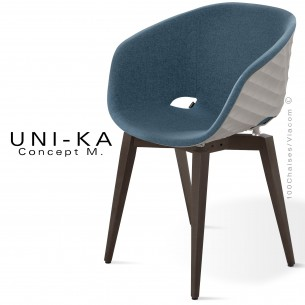 Fauteuil UNI-KA, coque effet matelassé gris tourterelle, piétement teinté noir, assise garnie, habillage tissu gris-bleu
