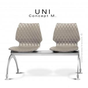 Banc UNI assise deux places coque plastique couleur gris Tourterelle pour salle d'attente.