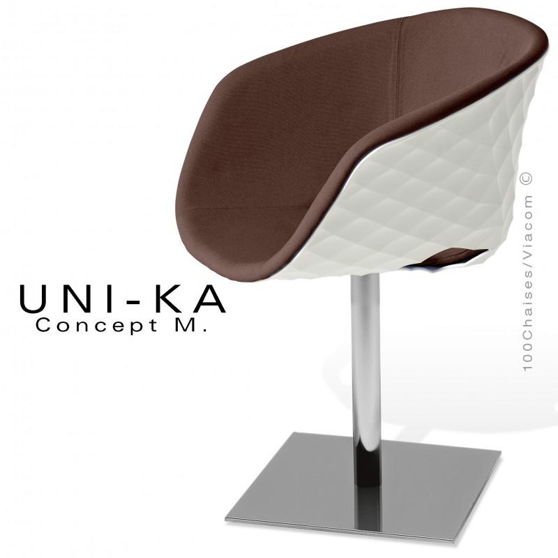 Fauteuil UNI-KA coque effet matelassé blanche, piètement colonne centrale chromé, habillage tissu couleur taupe