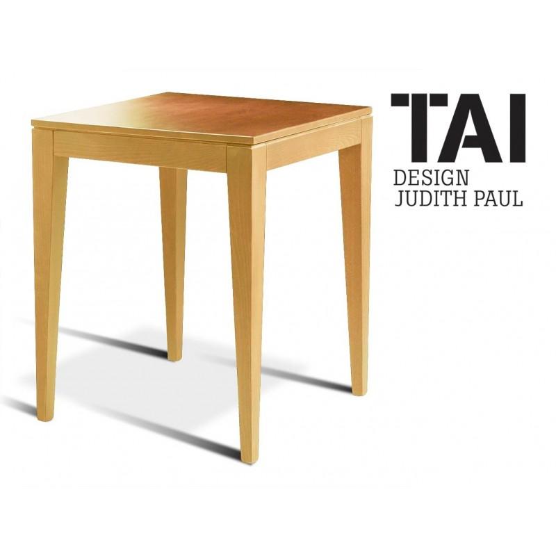 TAI - Table d'appoint carré, finition hêtre naturel.