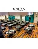 Fauteuil UNI-KA quelques exemples du mobilier en situation, piétement bois ou acier.