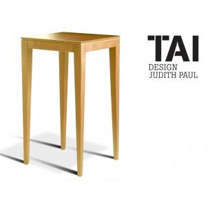 TAI - Table haute d'appoint carré, finition bois hêtre naturel.