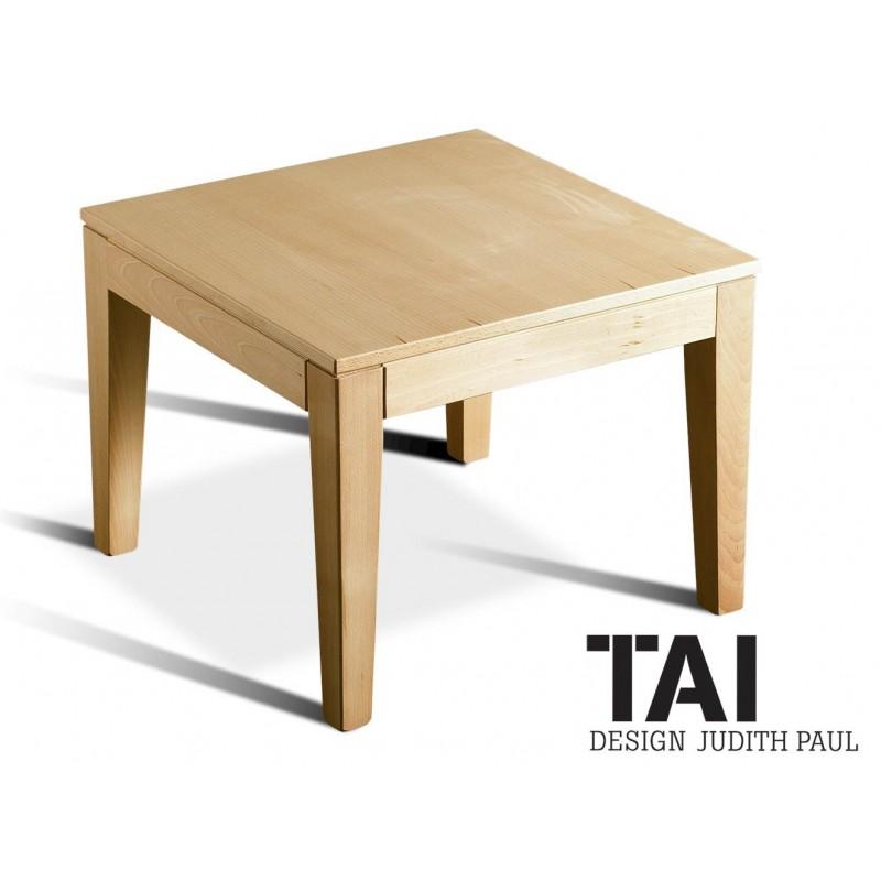 Table basse ou d\'appoint carrée TAI structure bois de hêtre massif