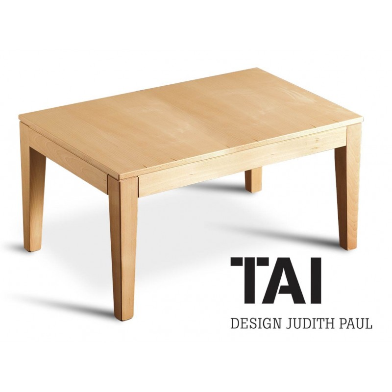 TAI - Table basse rectangulaire, finition bois hêtre naturel.