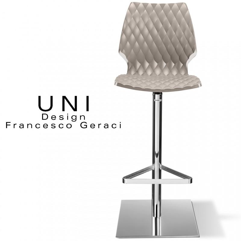 Tabouret de bar UNI, piétement chromé, assise pivotante, coque plastique couleur gris Tourterelle.