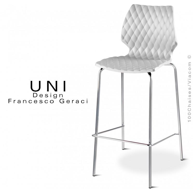 UNI tabouret 4 pieds acier chromé assise coque plastique couleur blanc.