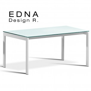 Edma table design piétement peint blanc, plateau verre teinté blanc.