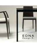 Edma table design piétement acier peint, plateau verre teinté noir ou blanc.