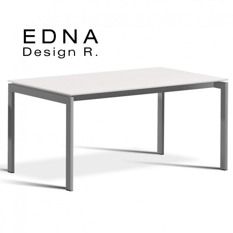 Table design Edma piétement peint argent, plateau bois peint blanc.
