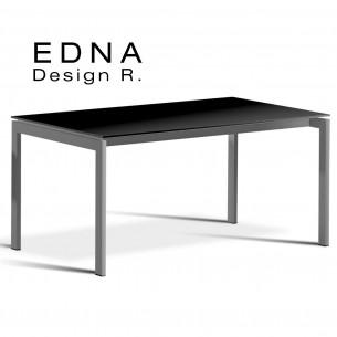 Table design Edma piétement peint argent, plateau bois peint noir.