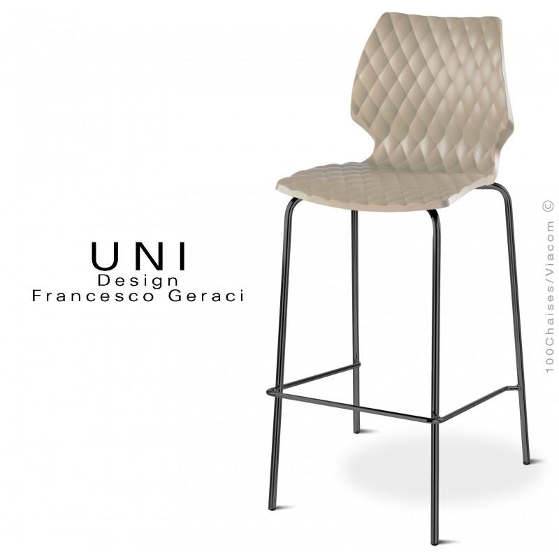 Tabouret UNI, assise coque gris Tourterelle, piétement peint noir