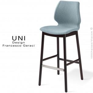 Tabouret UNI assise coque effet matelassé noir, habillage feutre 100% Laine, couleur Plymouth CUZ1R, piétement teinté wengé