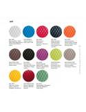 Palette couleur disponible assise tabouret UNI assise coque effet matelassé, piétement luge chromé.