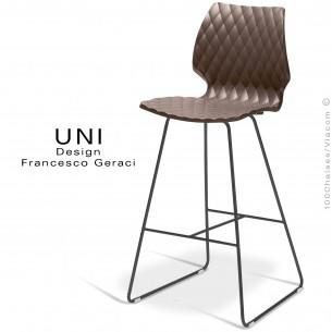 Tabouret de bar design UNI assise coque effet matelassé couleur moka, piétement luge peint noir
