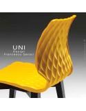 Détaille dossier chaise UNI finition piétement peinture noir bois ou acier.