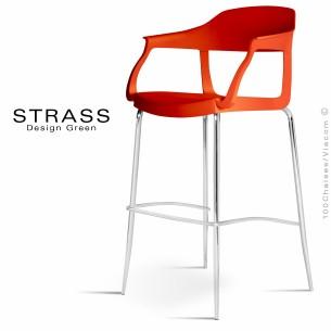 Tabouret de bar STRASS, assise plastique avec accoudoirs, piétement chromé - Lot de 4 pièces, assise couleur rouge.