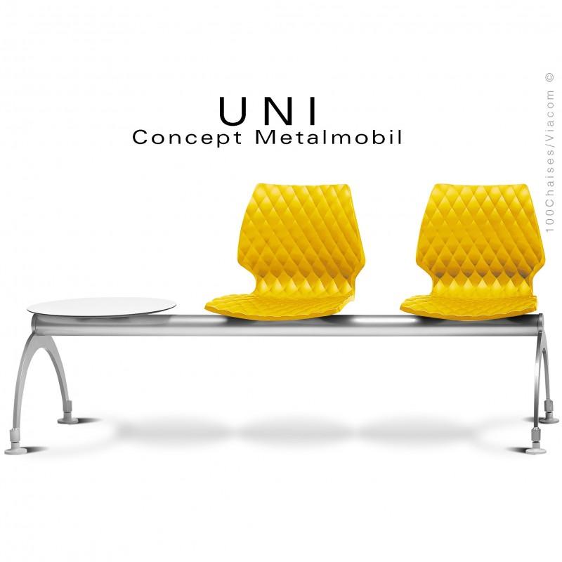 Banc design UNI, assise 2 places avec tablette pour salle d'attente, couleur assise jaune.