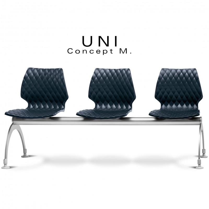 Banc design UNI, 3 places pour salle d'attente couleur assise anthracite.