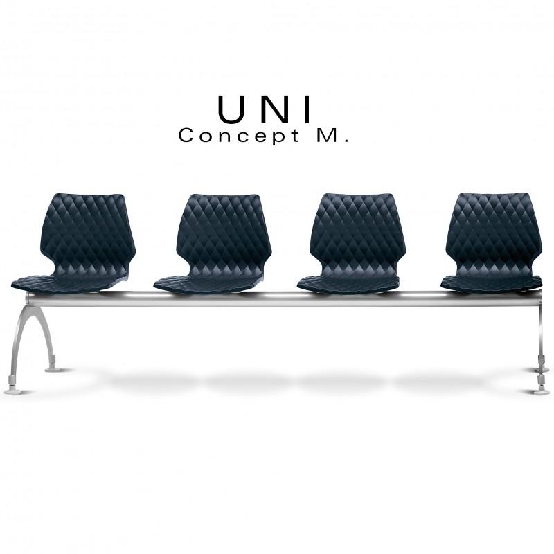 Banc design UNI, 4 places pour salle d'attente, couleur assise anthacite.