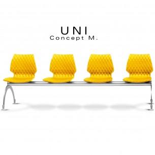 Banc design UNI, 4 places pour salle d'attente, couleur assise jaune.