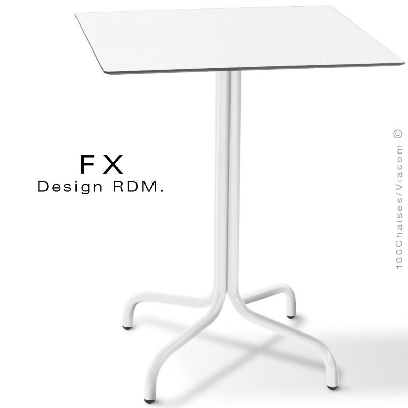 Table FX pour terrasse, CHR, piétement acier peint blanc, plateau type Compact blanc