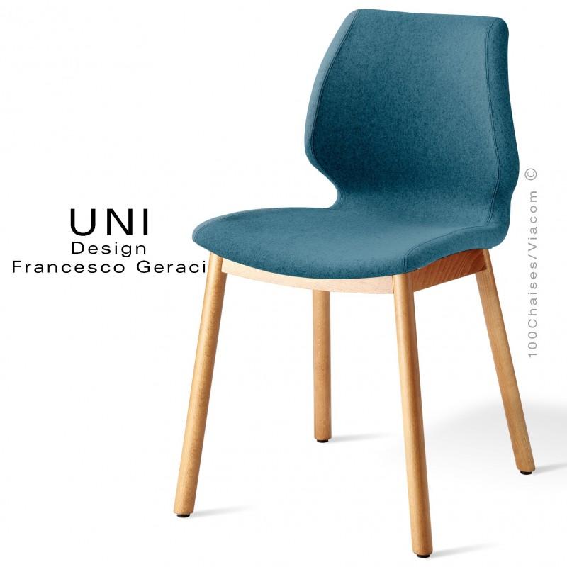 Chaise Design UNI, Coque Effet Matelassé Noir, Assise Et Dossier Tissu  Bleu Gris ...