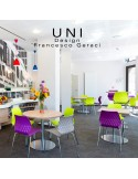 Exemple en situation des tabouret de bar UNI, piétement chromé, assise pivotante, coque plastique couleur.