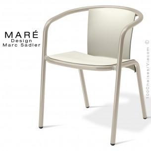 Fauteuil MARÉ, pour terrasse de café piétement aluminium peint gris tourterelle, assise plastique blanc