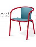 Fauteuil MARÉ, pour terrasse de café piétement aluminium peint rouge, assise plastique bleu