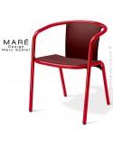 Fauteuil MARÉ, pour terrasse de café piétement aluminium peint rouge, assise plastique marron