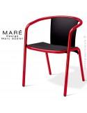 Fauteuil MARÉ, pour terrasse de café piétement aluminium peint rouge, assise plastique noir