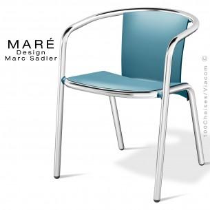 Fauteuil MARÉ, piétement aluminium anodisé, assise coque plastique couleur bleu.