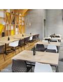 Exemple en situation de la chaise design UNI, piétement luge chromé assise coque couleur.