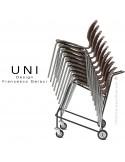 Chariot de manutention pour chaise design UNI, piétement luge, assise coque plastique.