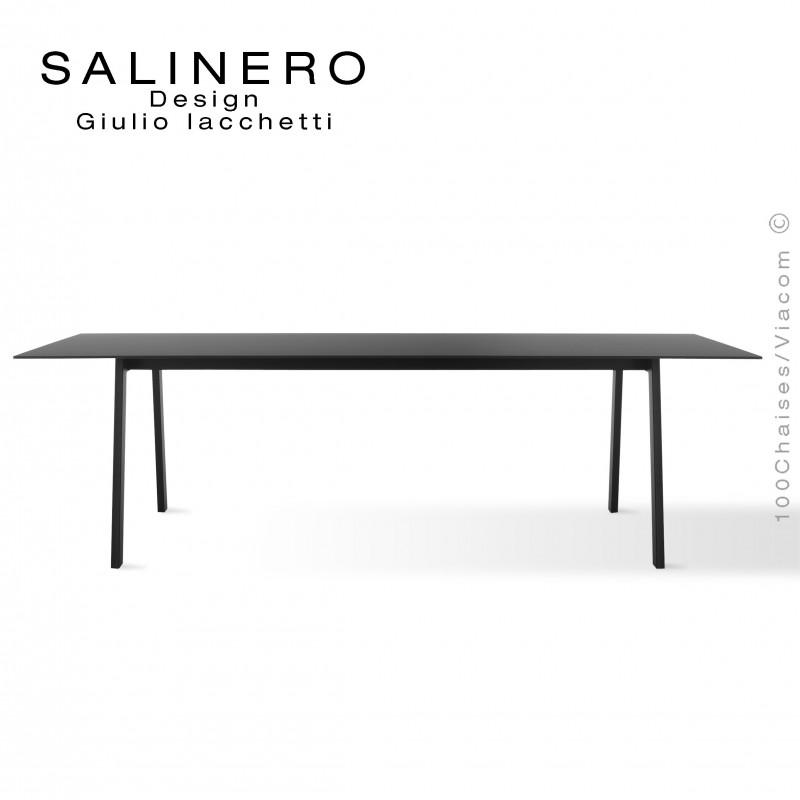 Table SALINERO, pour bureau, boutique, piétement acier noir, plateau stratifié compact noir