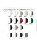 Palette couleur finition piétement chaise UNI, assise coque couleur effet matelassé.