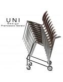 Chariots de manutention pour chaise UNI, empilable, mise en place facile et rapide.