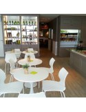 Chaise UNI, exemple en situation…, salle restauration, terrasse, hôtel, restaurant, salle de réunion.