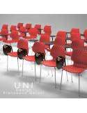Option tablette d'écriture ou écritoire en option sur demande pour chaise design UNI, coque effet matelassé.