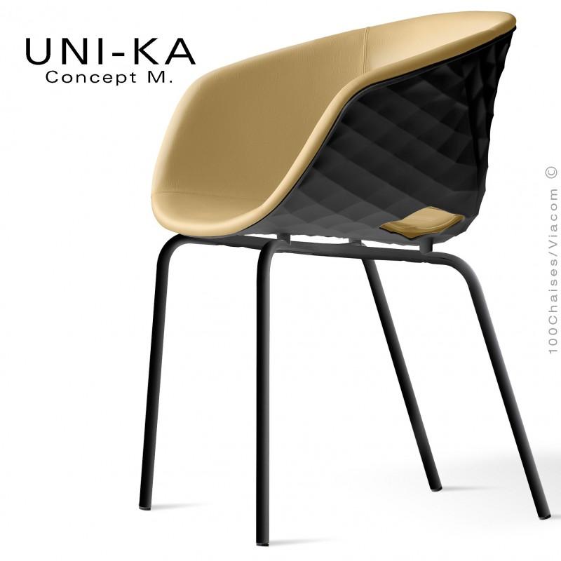 Fauteuil confort UNI-KA, piètement noir, assise coque effet matelassé noir, assise garnie, habillage cuir crème.