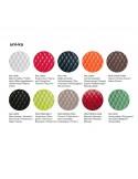 Palette couleur assise fauteuil confort UNI-KA, assise coque effet matelassé, habillage cuir.