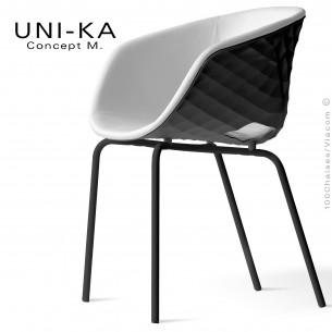 Fauteuil confort UNI-KA, piètement noir, assise coque effet matelassé noir, assise garnie, habillage cuir blanc