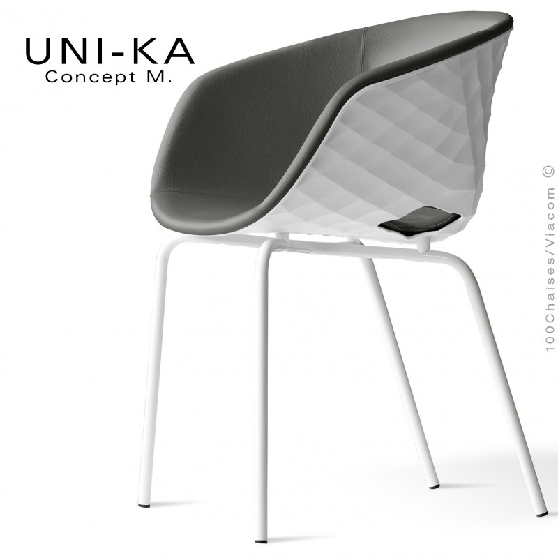 Fauteuil confort UNI-KA, coque effet matelassé couleur blanc, assise garnie, habillage cuir gris clair.