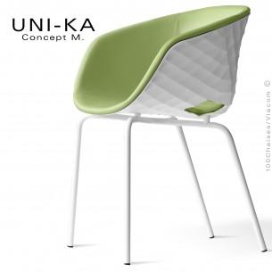 Fauteuil confort UNI-KA, coque effet matelassé couleur blanche, assise garnie, habillage cuir synthétique vert