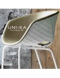 Détaille fabrication fauteuil confort UNI-KA, coque effet matelassé couleur, assise garnie, habillage cuir ou tissu.