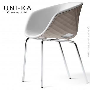 Fauteuil confort UNI-KA, coque effet matelassé couleur tourterelle, assise garnie, habillage cuir synthétique blanc