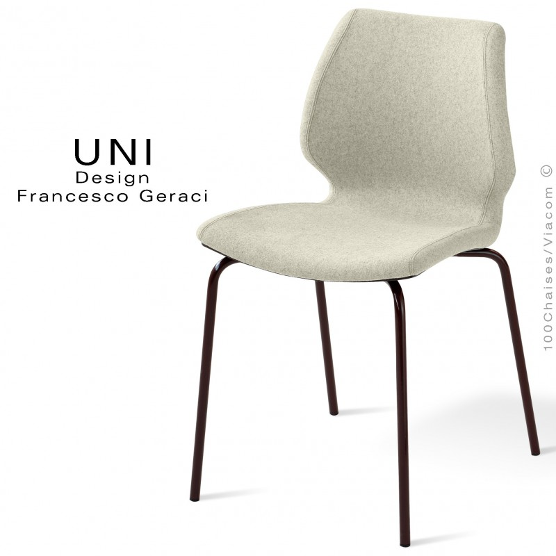 Chaise design UNI, assise coque effet matelassé, piétement acier noir, assise et dossier garnies, habillage 100% laine blanc.