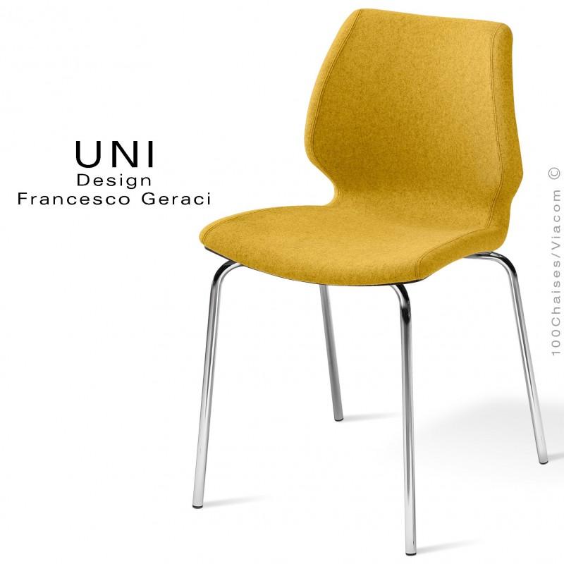 Chaise design UNI, assise coque effet matelassé, piétement chromé, assise et dossier garnies, habillage 100% laine jaune.