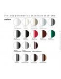 Finition piétement couleur piétement chaise design UNI, assise coque effet matelassé.